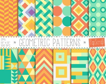 "Geometric digital paper: ""Geometric Patterns"" digital paper pack with geometric patterns and orange green digital paper backgrounds"