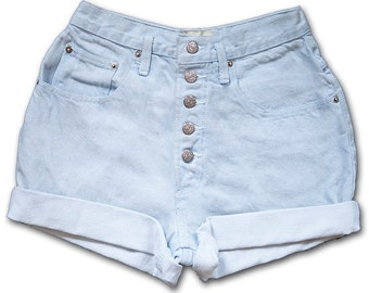 Vintage 90s Light Blue Colored Wash Exposed Button Fly High Waisted Rise Cuffed Rolled Jean Denim Shorts – Size 25
