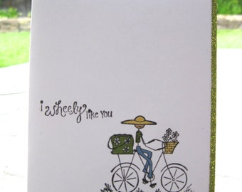 I Wheely Like You Bicycle Riding Girl Card