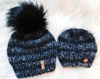 Mommy and Me hats. matching hats. Mommy and son hats. Mom and daughter hats. Variegated black and white yarn matching hats. RTS.