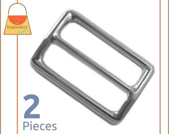 "1.5 Inch Slide for Purse Straps, Shiny Nickel Finish, 2 Pieces, Handbag Purse Bag Making Hardware Supplies, 1-1/2"", 1.5"", BKS-AA025"