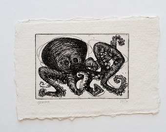 Octopus etching, handmade black and white wall art (octopus art, octopus print, octopus illustration, squid art, squid print, tentacle)