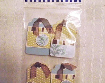 4 PIECE TAG SET, Light Blue Sage Green Craft Tags, Self Adhesive Tags, Scrapbooking Card Making Tags, Acid Free Embellishments,