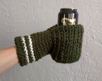 Green Beer Mitten / Beer Glove / Drinking Gift / Beer Gift / Tailgating / St. Patrick Day / Ice Fishing / School Colors / Team Colors