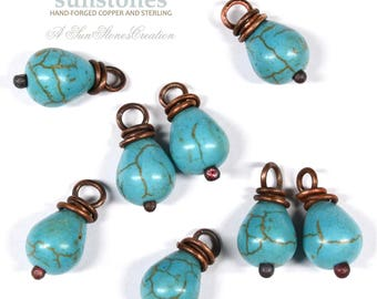 Wire Wrapped Turquoise Magnesite  - 2 Pieces, DIY Jewelry Making, Drops, Dangles, Earring Components JC677
