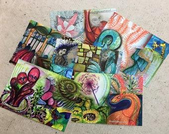 Set of 3 Art Postcards / Set 2 / 100 day project