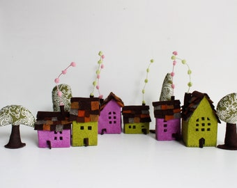 Village, Felt Houses Ornaments, Cabins and trees, Miniature cottages , Green violet shades, Housewarming gift, original gift Sweet Home