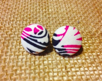 CLEARANCE!  Brush Strokes Button Earring