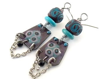 Handmade Earrings, Enameled Earrings, Turquoise and Plum Earrings, Silver Earrings, Artisan Earrings, Boho Earrings, Flower Earrings,  AE189