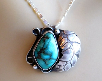 Vintage Native American Turquoise and Sterling Silver Pendant Necklace - Navajo Feather Motif - Hand-Worked Silver - Artisan Made