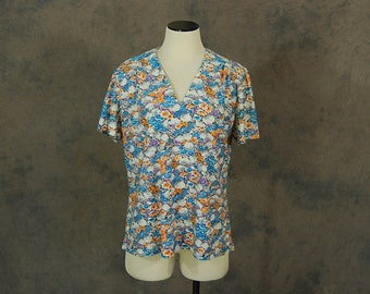 Clearance SALE vintage 60s Floral Tshirt - 1960s Psychedelic Floral T Shirt Tee Sz L