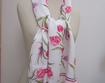 Accessory Street Vintage Polyester Scarf 15 x 61 Floral Tulips Italy Green Pink Purple White Colors Estate Wrap