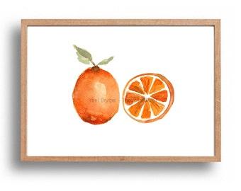 Orange study no 2. botanical art Print, still life watercolor painting, minimalist art, kitchen art, orange art, orange print,
