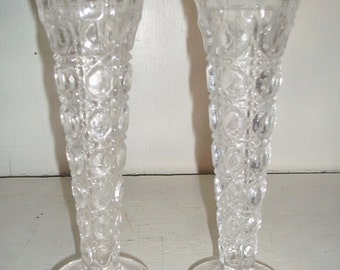 2 Art Glass English Button pattern Bud Vases / Candle Holders