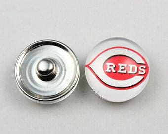 Cincinnati Reds Inspired Snap Button Charm-Qty:1 - Charm Attachment Included