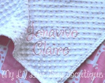 Personalized baby blanket-giraffe baby blanket white and paris pink- 30x35 cat stroller blanket