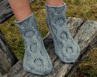 Hand Knit Chunky Slipper Socks, Cable Knit Slipper Socks,  Knit Slipper Booties, Gripper Socks, Knit Indoor Clogs,  Christmas Gift
