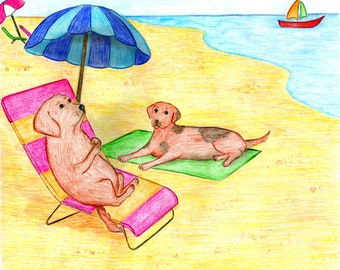 Downloadable Print, Dogs on a beach, Color Pencils