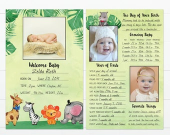 "Jungle Theme Baby's First Year Memory ""Book"""