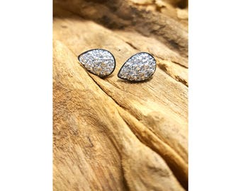 Silver Faux Druzy Surgical Steel Tear drop Stud