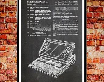 Laptop Patent Apple Poster Apple Computer Apple Wall Art Apple Mac Computer Wall Art Computer Gift for Computer Blueprint Art WB#003