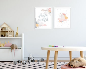 Nursery Girl, Unicorns, Flowers, Graphic Design, Baby Girl, Cute Animals, Design Nursery, Graphic Elements, Lettering Words, Nursery Posters