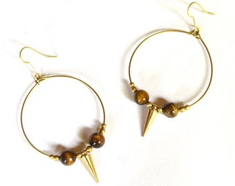 Tiger Eye Hoops, Beaded Earrings, Statement Hoops, Ethnic Earrings, Gold Tone, Bohemian, Large Hoops