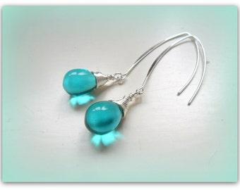 Teardrop Teal Peacock Aqua Czech Crystal Earrings Silver Wishbone Earrings Etsy UK Bridesmaid Earrings Glass Tear Drop Earrings