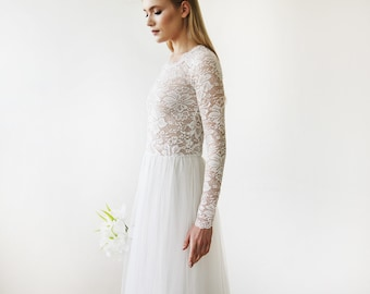 Wedding Gown Round Neck-Line Long Sleeves Sheer Lace and Maxi Tulle, Tulle and Lace bridal gown, Long Sleeve Wedding Dress 1152
