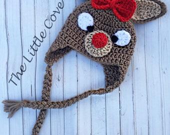 Baby Girl Reindeer Hat, Rudolph Hat, Baby Rudolph Hat, Reindeer Hat, Crochet Reindeer Hat, Crochet Rudulph Hat