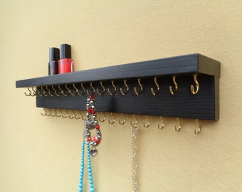 Jewelry Organizer - Jewelry Holder - Wall Mount - Necklace Hanger - Necklace Display - Jewelry Storage - With A Shelf