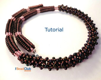 Beaded Necklace Patterns - Seed Bead Necklace - Beading Tutorials and Patterns - Beaded Rope Necklace - Beadweaving Pattern -Banded Necklace