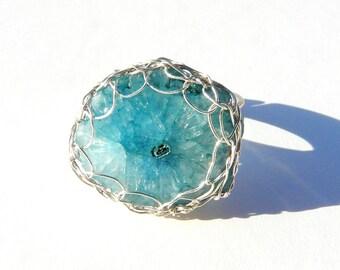 Quartz ring / raw quartz ring / Blue druzy ring / Geode ring / wire crochet ring / boho bohemian ring  / rough Quartz ring. April Birthstone