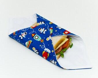 Reusable Sandwich Wrap, Lunch Wrap, Astronauts / Space / Aliens kids design, Waterproof, Eco Friendly, Waste Free