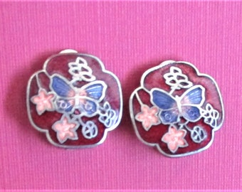 Red Cloisonne Earrings Round Butterfly Earrings Circle Floral Clip On Earrings Small Artful Summer Earrings Burgundy Red  Silver Jewelry