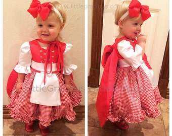 Little Red Riding Hood Halloween Costume Dress and Cape, Halloween Dress Toddler, Baby Girl Dress for Birthday Party, PD088-2