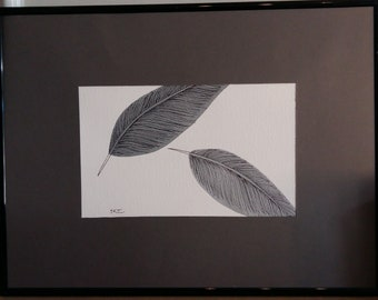 Original framed acrylic painting of feathers 'Partially grey'