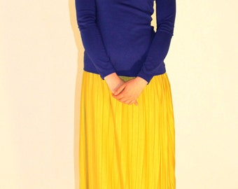 Royal Blue Top/ Asymetric Shoulders Minimalist Top/ Cold Shoulder Blouse