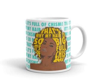 Hair Full of Chisme Mug, Chismosa Mug, Gossip Mug.