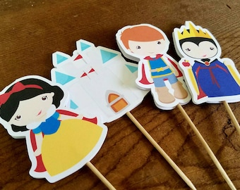 Snow White Party - Set of 12 Snow White and Friends Double Sided Assorted Cupcake Toppers by The Birthday House