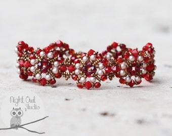 Dark Red Flowers Bracelet