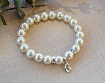 Personalized Pearl Bracelet/Weddings/Gifts