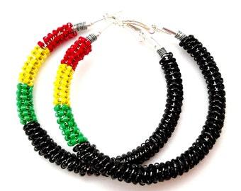 Black Panther Inspired Large Hoop Earrings, RBG Hoop Earrings, Seed Bead Hoops, Ethnic Jewelry, Red Black Green Hoop, Best Friend Gifts