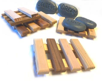 6 Luxurious aromatic Cedar Soap Dish - 3x4 cedar soap dish