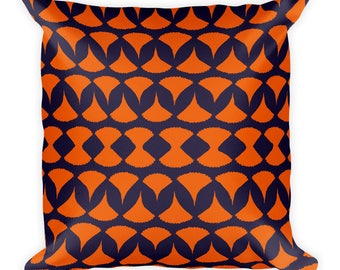 DOUBLE SIDED Leaf Print Silhouette Square Pillow