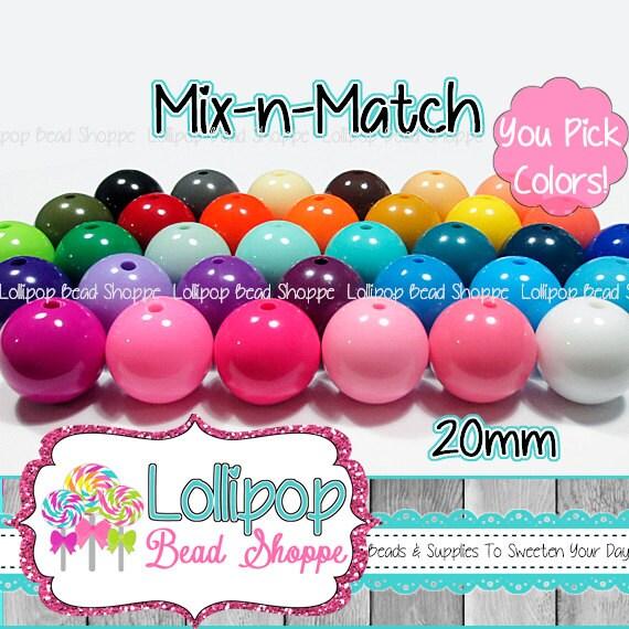 20mm Beads Bubblegum Beads Gumball Beads Acrylic Beads Bubble Gum Beads Chunky Beads Round Beads Bead Mix DIY Jewelry Supply Craft Pkg of 10
