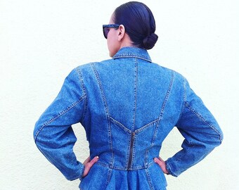 Vintage Byblos nineties denim peplum jacket wirh zipper back