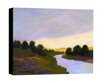 Landscape canvas print, river, sunset, stream, river valley, mountain scenic, fields and trees, dark green, yellow, lavender painting