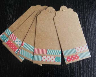 Set of 5 cardboard and decorated patchwork fashion measuring 9 cm x 4 cm