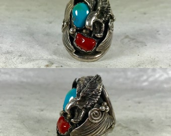 Native American sterling silver turquoise coral eagle southwestern southwest boho bohemian men's ring size 9.75